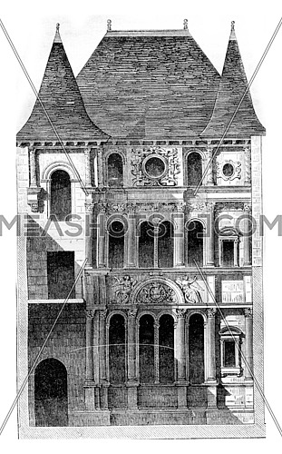 View of a house of the sixteenth century, called House of Diane de Poitiers, has Orleans, vintage engraved illustration. Magasin Pittoresque 1843.