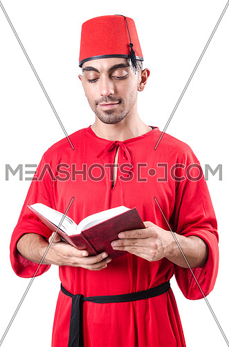 Young turk with book on white