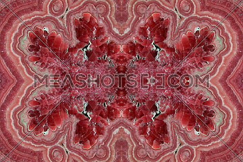 Abstract fractal of Rhodochrosite pink rose red stone, manganese carbonate mineral with chemical composition MnCO3