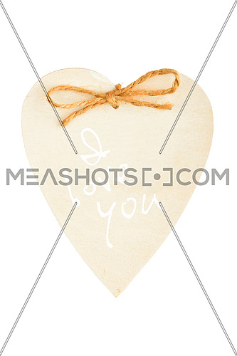 Beige painted romantic wooden handmade souvenir heart with burlap jute rope and copy space isolated on white