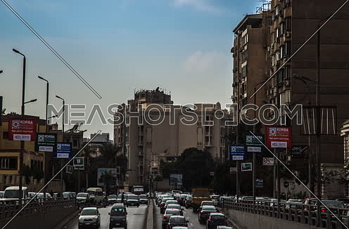 Fixed Shot for traffic from above  Al Thawra Tunnel at Daytime
