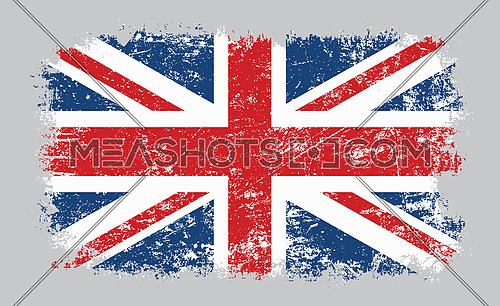 Vector illustration of grunge old distressed UK Great Britain flag isolated on grey background