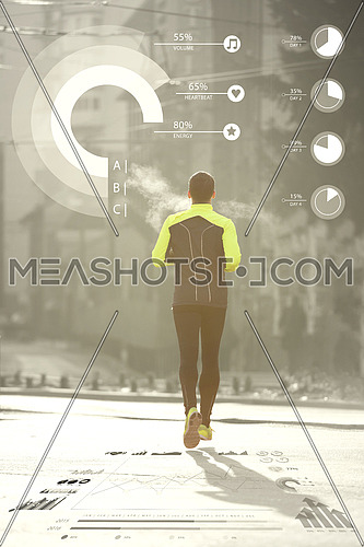 Man running down the street with statistics in background