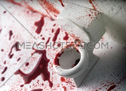 Bathroom covered in blood, conceptual image, composition horizontal