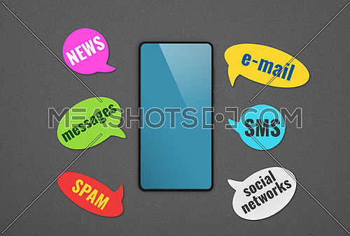 Close up one black smartphone with blank blue screen and callout messages of information environment over grey paper background, flat lay, directly above