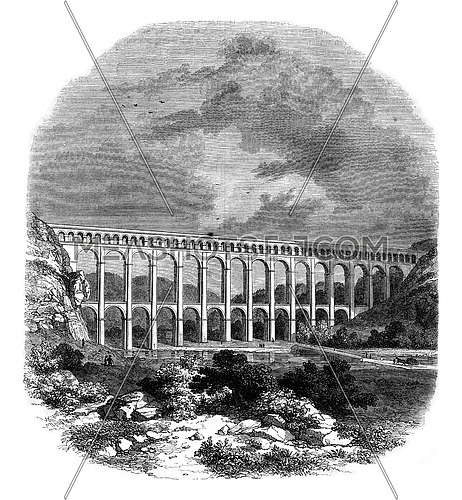 Aqueduct of Roquefavour, vintage engraved illustration. Magasin Pittoresque 1847.