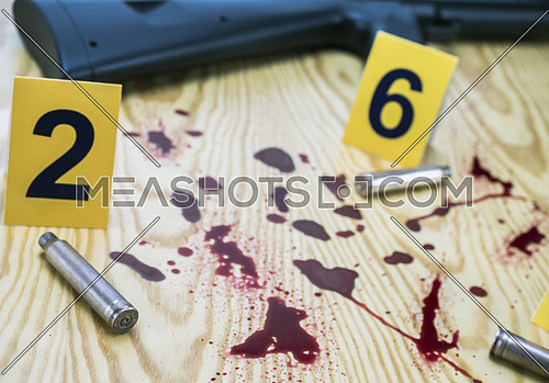 Scene of the crime, traces of blood and bullet casings, conceptual image, composition horizontal