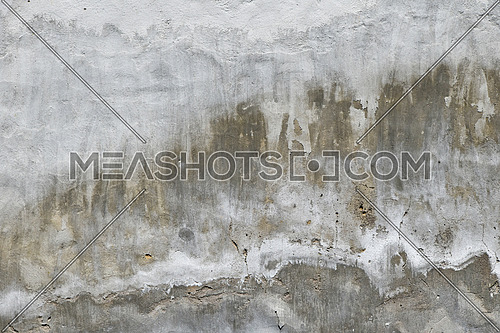 Old white and grey painted lime plaster concrete wall with weatherstains, runs and defects