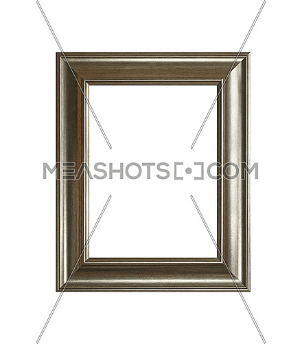 Vintage old wooden classic silver gray painted vertical rectangular frame for picture or photo, isolated on white background, close up