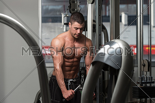 Young Bodybuilder Is Working On His Triceps With Cable In A Dark Gym