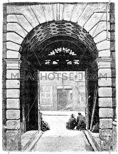 Portal Hotel de Sully, seen from the courtyard, vintage engraved illustration. Paris - Auguste VITU – 1890.