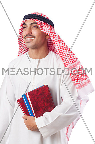 Arab with books on white