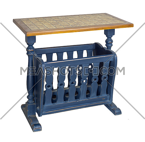 Vintage Furniture: Wooden blue magazine rack side table isolated on white background including clipping path