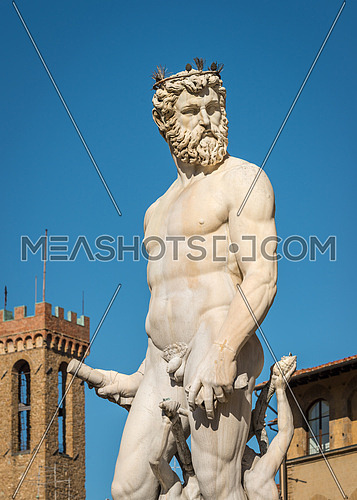Close-up at Statue of Neptune with tower in background, Piazza della Signoria, Florence (Italy)