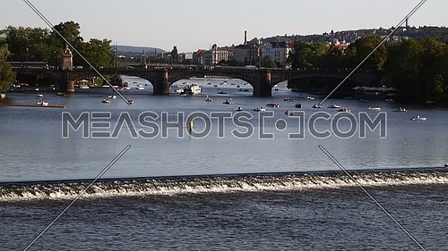 High angle panoramic view of Prague old town over Vltava river sunny day in Czech Republic.