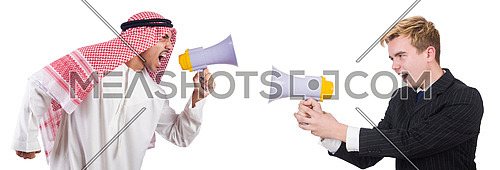 Businessman and arabian man speaking through loudspeakers isolated on white