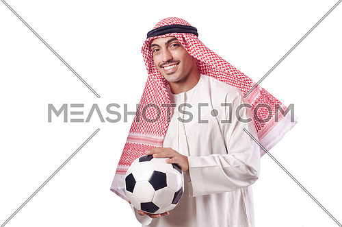 Arab man with football on white