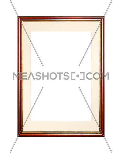 Vintage old wooden classic red brown painted vertical rectangular frame with beige cardboard mat (passe partout mount) for picture or photo, isolated on white background, close up