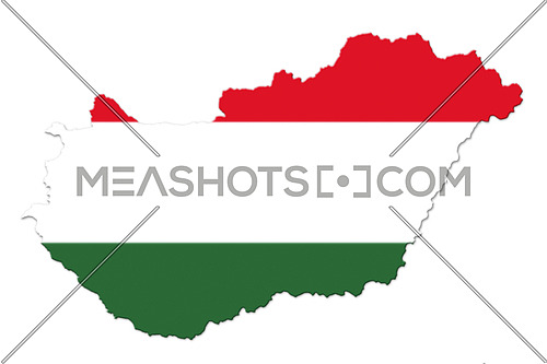 Hungarian National Flag And Map Isolated on White Background 3D illustration