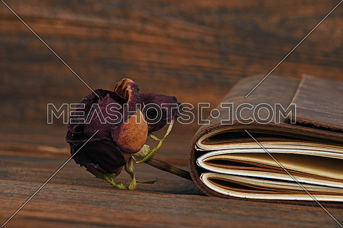 Handmade paper diary notebook in brown leather cover and dried red rose flower over old vintage dark wooden table surface background