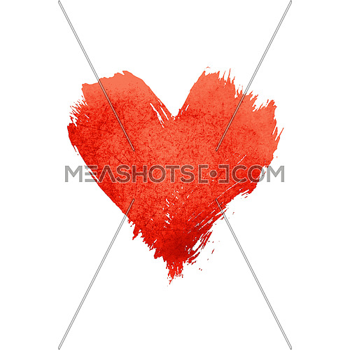 Red vivid watercolor painted heart with brushstroke grunge shape and paintbrush texture isolated on white background