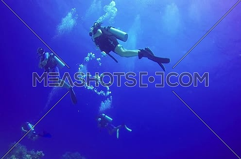 long shot for scuba divers underwater playing with bubbles at The Red Sea