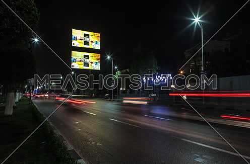 Fixed Shot for traffic at Salah Salim Street at Night