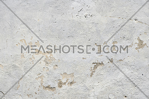 White painted old dirty concrete plaster wall texture background with paint brush traces, defects and stains