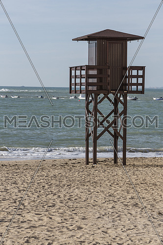 View of the beach lifeguard tower, Cadiz, Andalusia, Spain