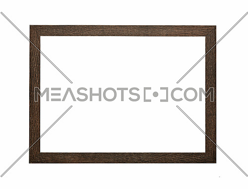 Modern dark brown wooden rectangular frame for picture or photo, isolated on white background