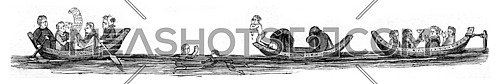 The pleasures of the water, vintage engraved illustration. Magasin Pittoresque 1846.