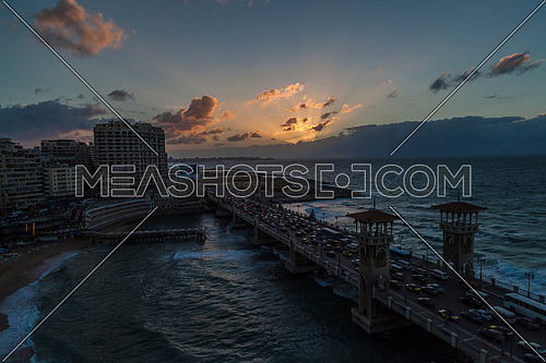 Panorama shot for Stanly Bridge at Alexandria from Day to Night