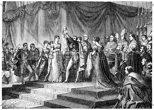 Baptism of the King of Rome, vintage engraved illustration. History of France – 1885.