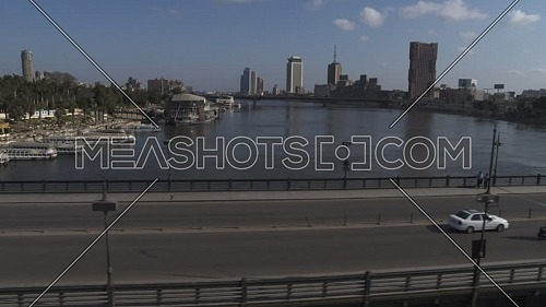 Aerial shot flying over Kasr El Nile Bridge during the corona pandemic lockdown by day 10 April 2020