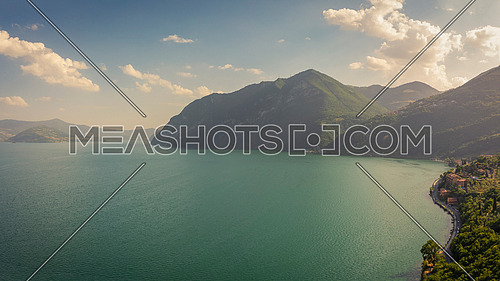 Aerial view of Iseo lake at sunset, Bergamo Italy.