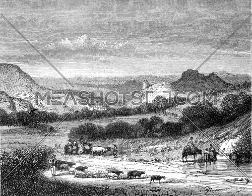 The Return of walking, shooting around the Puy, vintage engraved illustration. Magasin Pittoresque 1845.