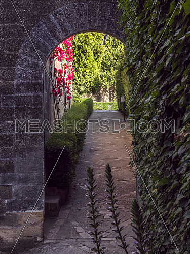 Almodovar del Rio, Cordoba, Spain - June 9, 2018: Interior access to the homage tower, It is a fortitude of Moslem origin, it was a Roman fort and the current building has definitely origin Berber, placed close to the Guadalquivir, take in Almodovar of the Rio, Spain
