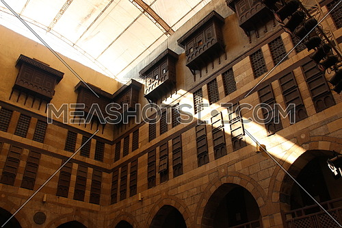 a photo for historical and Islamic architecture buildings in old Cairo Egypt (wekalet el Ghory) , in other words,old  commercial mall at that era