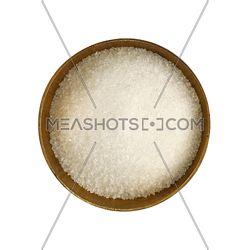 Close up one vintage bronze metal bowl full of white sugar, isolated on white background, elevated top view, directly above