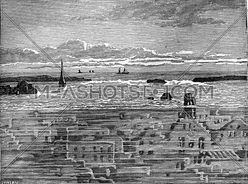 Zealand villages engulfed by the irruption of the sea, vintage engraved illustration. Earth before man – 1886.
