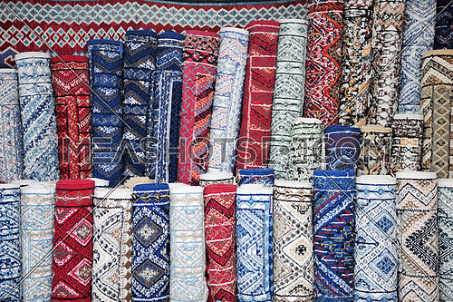 carpet or rug store fabric detail at market in tunisia