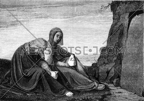 The Holy Women at the Tomb, by Philip Veit, vintage engraved illustration. Magasin Pittoresque 1845.