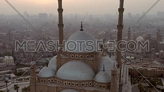 orbiting around  Mosque of  Mohamed Ali in Cairo Citadel at sunset
