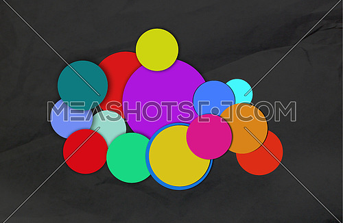 Different circles of accumulated colors, conceptual image
