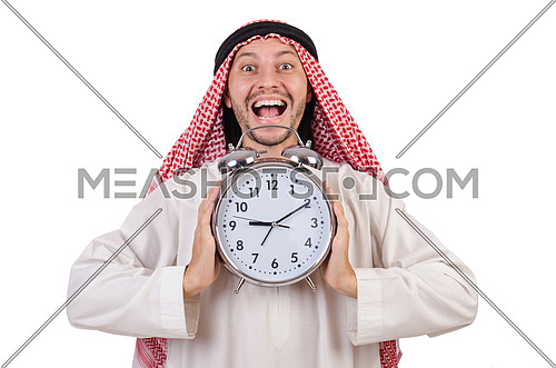 Arab man in time concept on white