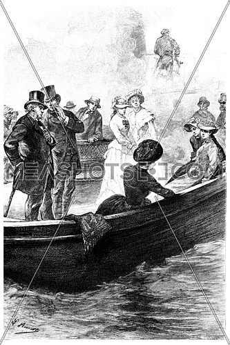 The passengers had recognized Mrs. Branican, vintage engraved illustration. Jules Verne Mistress Branican, 1891.