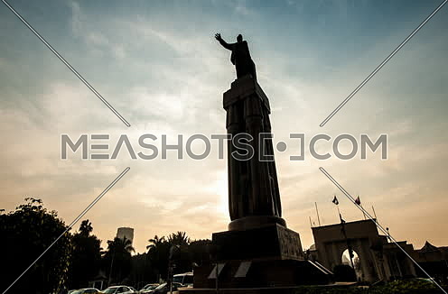 Zoom In Shot for Saad Zaghloul Statue at Cairo at Sunset