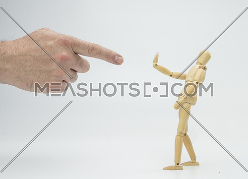 Hand drew a doll of wood, isolated on white background, conceptual image