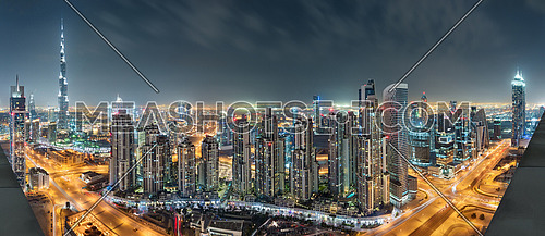 Dubai Downtown Night Panorama From Top