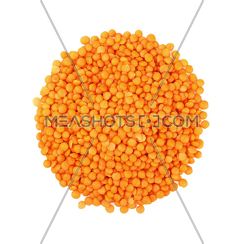 Round shaped Orange Masoor Dal (Red Chief) lentil lens isolated on white background, close up, elevated top view